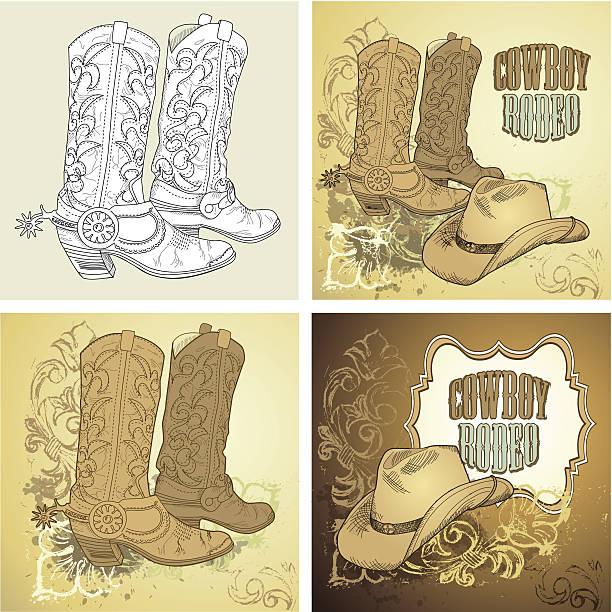 cowboy-icon-set - cowboystiefel stock-grafiken, -clipart, -cartoons und -symbole