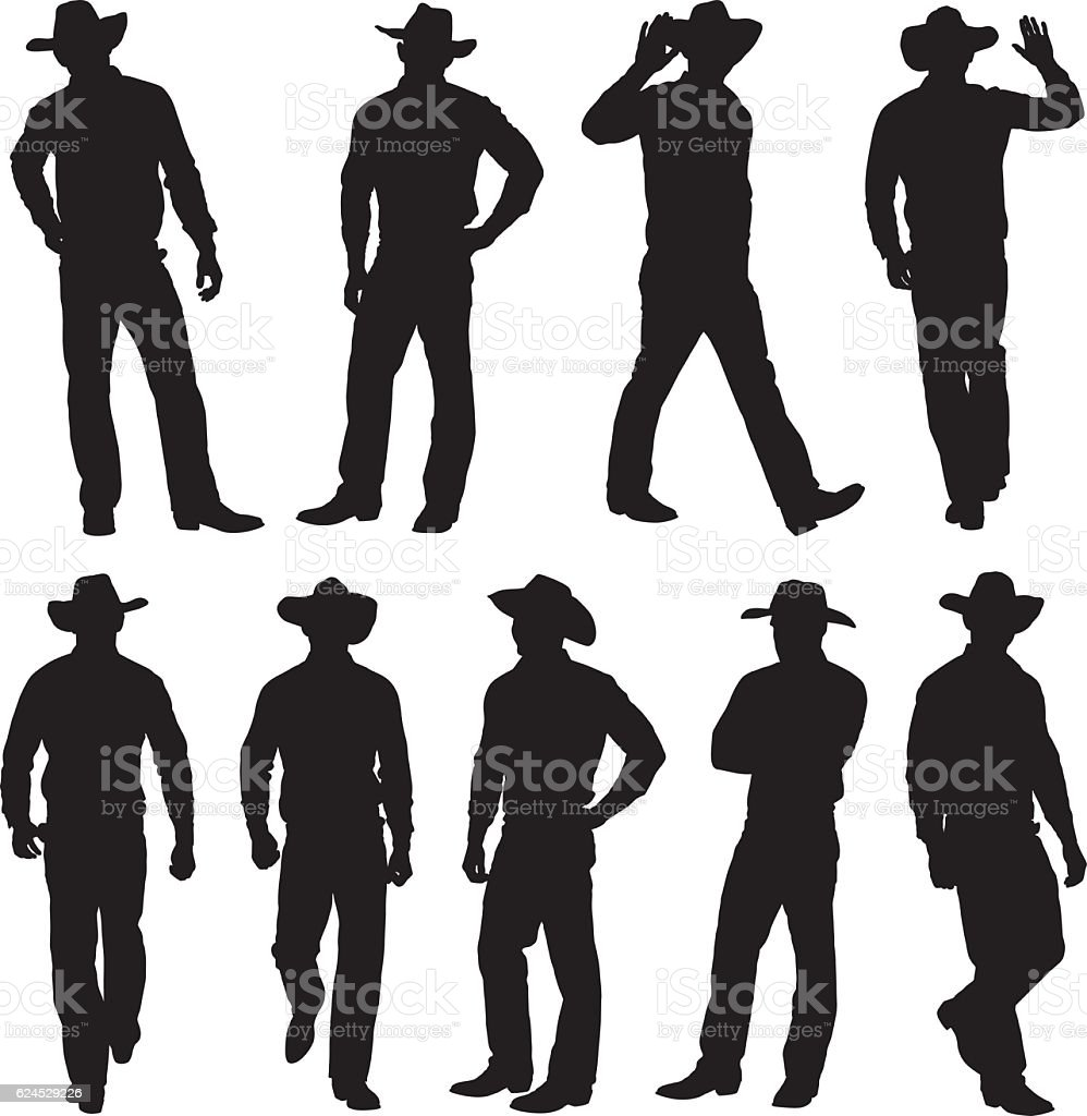 Cowboy in various action vector art illustration