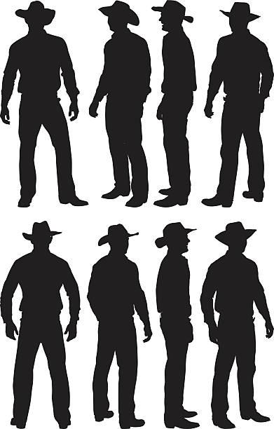 illustrazioni stock, clip art, cartoni animati e icone di tendenza di cowboy in diverse azioni - ritratto 360 gradi