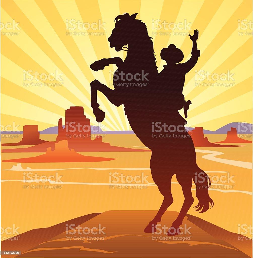 Cowboy in Wild West Landscape vector art illustration