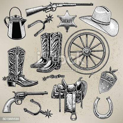 Pen and ink illustrations of Western Cowboy items. Check out my
