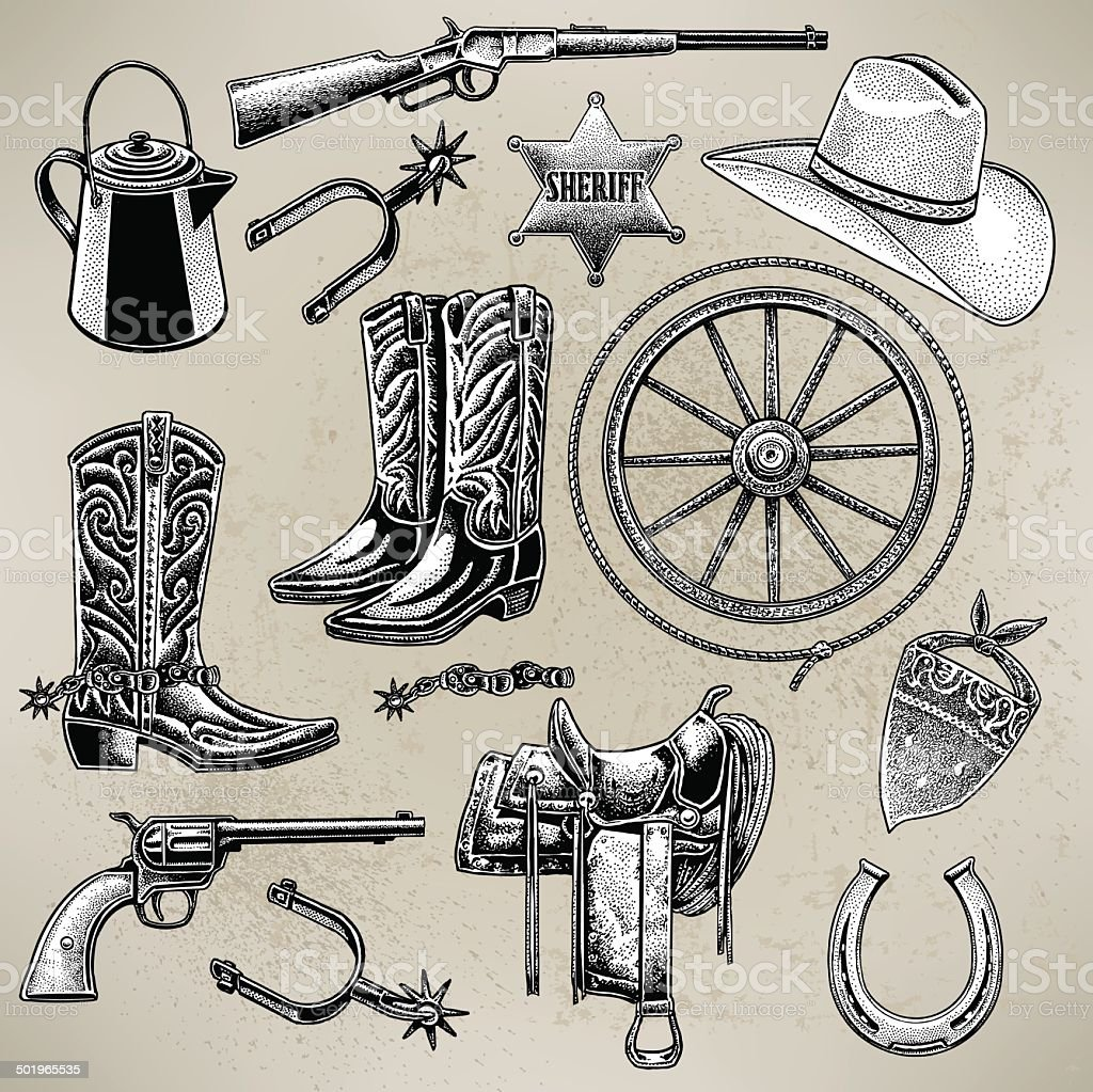Cowboy Items vector art illustration