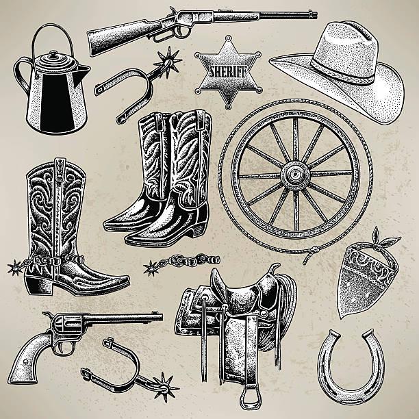 cowboy-artikel - cowboystiefel stock-grafiken, -clipart, -cartoons und -symbole