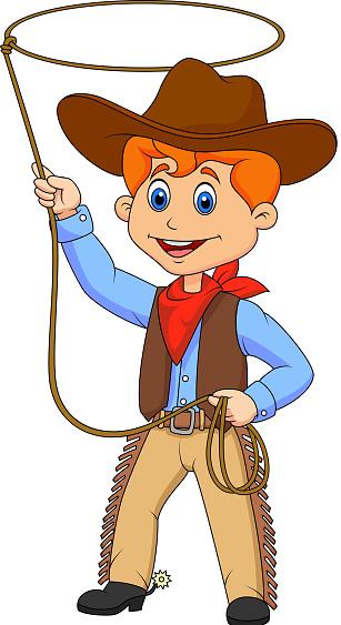 Enfant Dessin De Cowboy Twirling Un Lasso Vecteurs libres de droits et plus d'images ...
