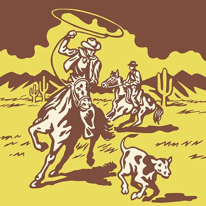 Cowboy Lassoing Calf