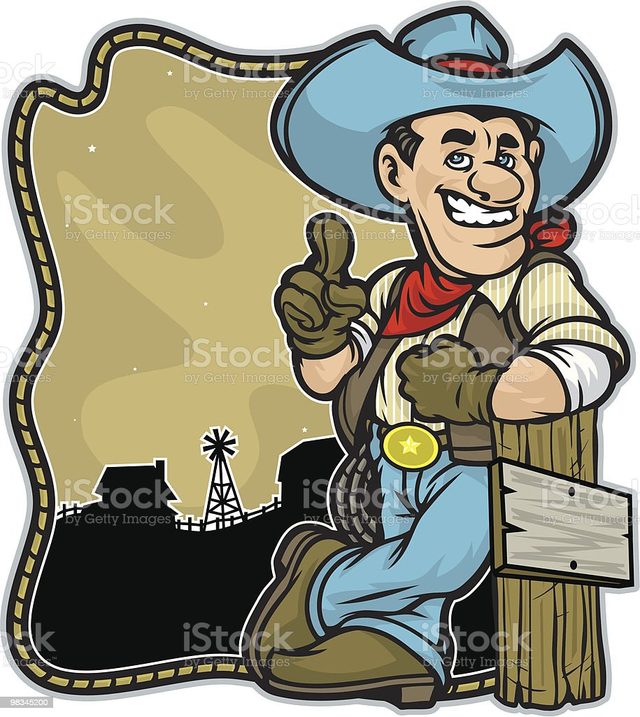 Cowboy Leaning on a post with barn Background. royalty-free stock vector art