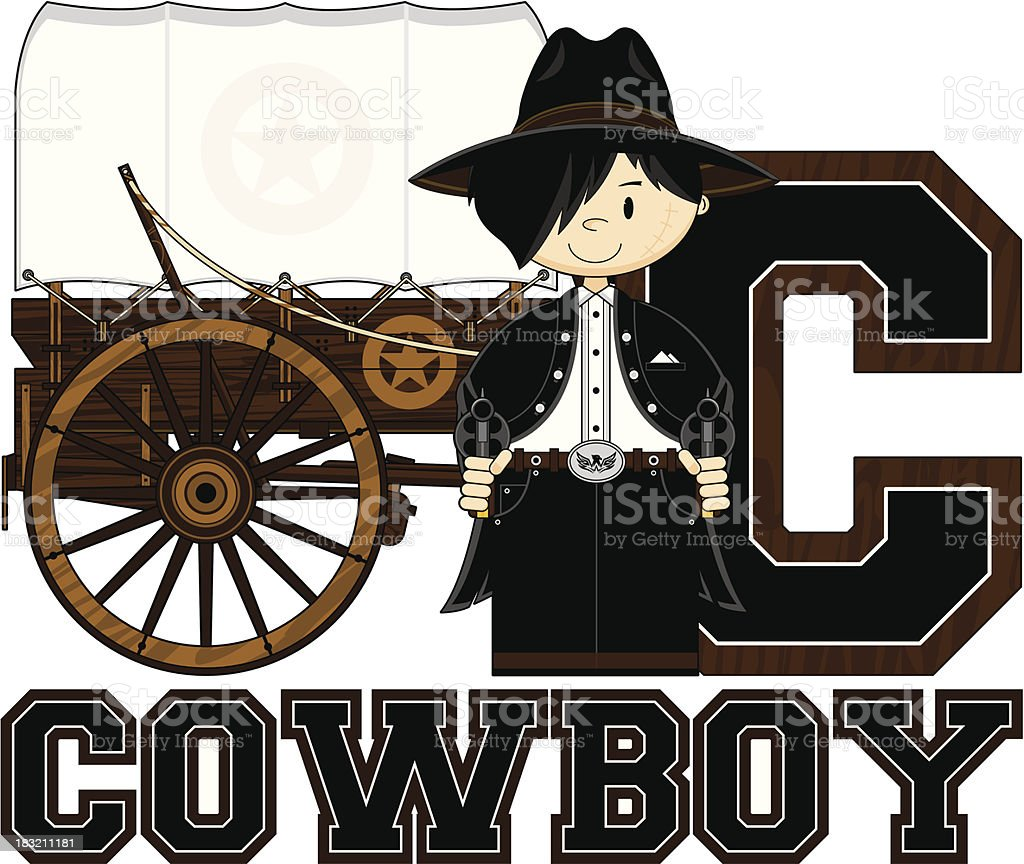 Cowboy Learn to Read Illustration royalty-free stock vector art