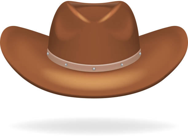 Cowboy leather hat isolated 3d realistic icon design vector illustration Cowboy leather hat isolated realistic 3d icon design vector illustration rancher illustrations stock illustrations