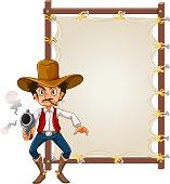 A cowboy on blank banner