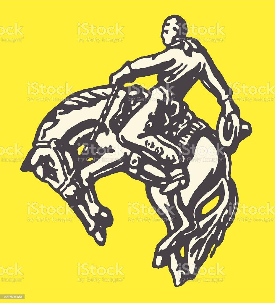 Cowboy on Bucking Horse vector art illustration