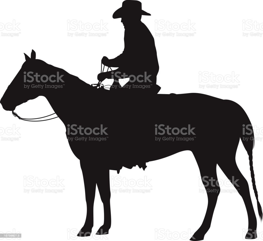 Cowboy On Horse Silhouette Stock Illustration Download Image Now Istock