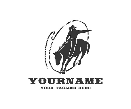 Cowboy on horseback in lasso, western and rodeo, design. Wild west, ranch, cattle breeding and animal husbandry, vector design and illustration