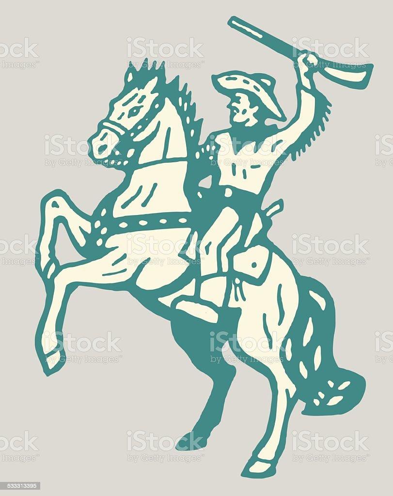Cowboy on Rearing Horse vector art illustration