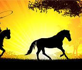 Cowboy on sunset