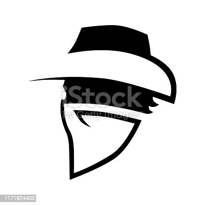 istock Cowboy outlaw symbol side view on white 1171924403
