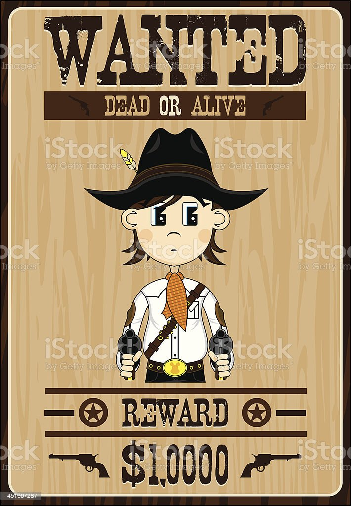 Cowboy Outlaw Wanted Poster royalty-free cowboy outlaw wanted poster stock vector art & more images of aiming