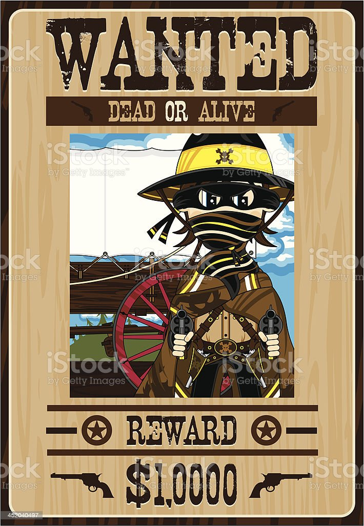 Cowboy Outlaw Wanted Poster royalty-free stock vector art