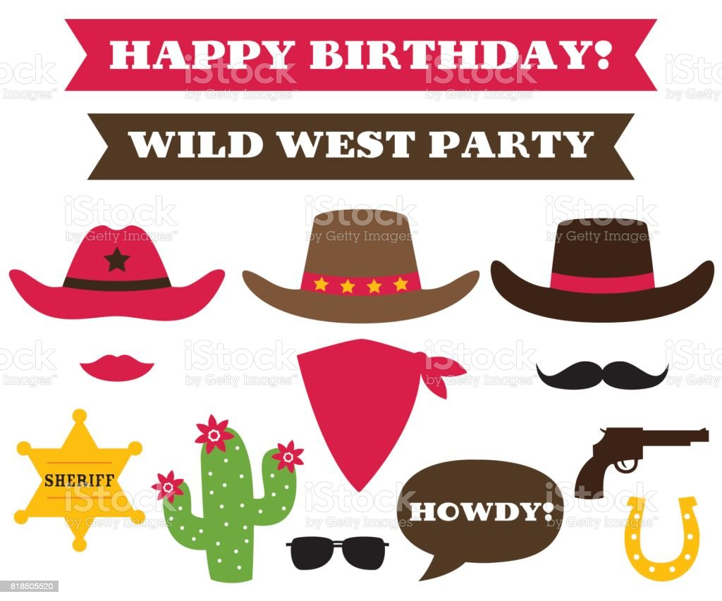 Cowboy party hats and western design elements vector art illustration