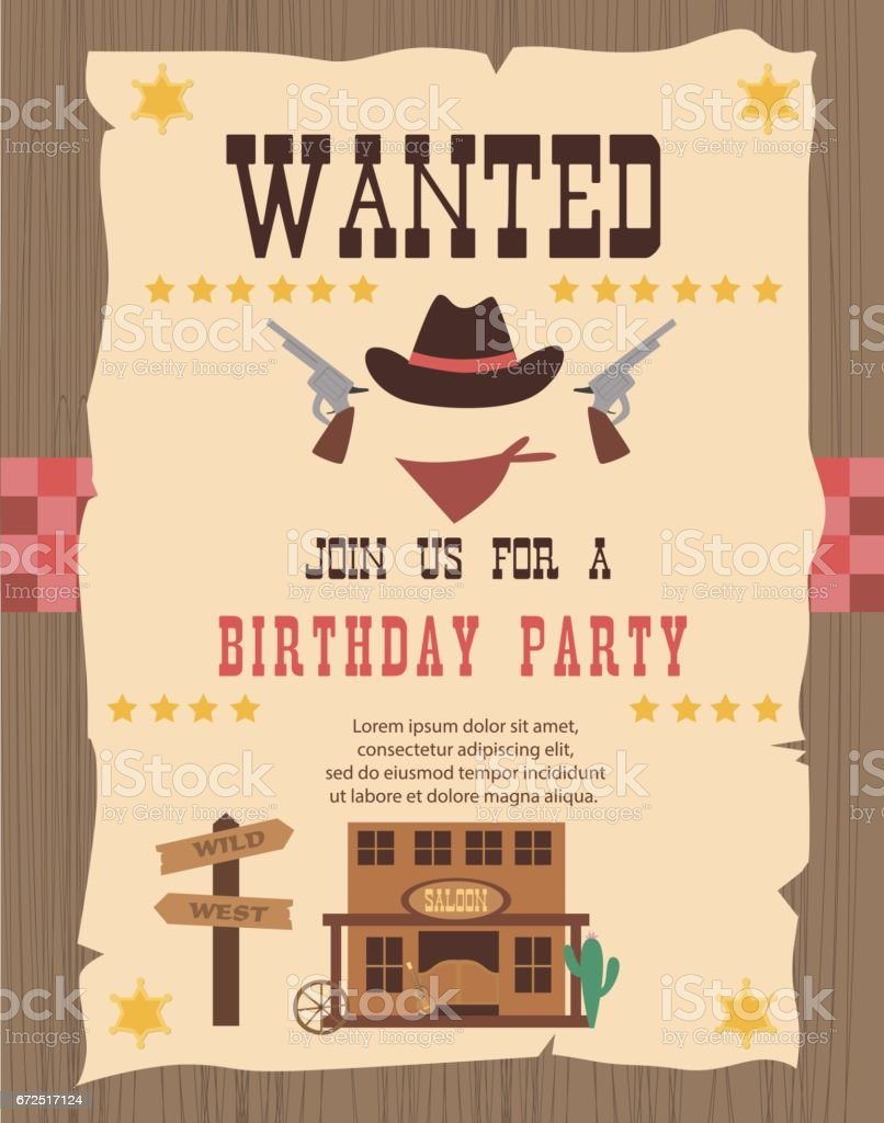 Cowboy Party Invitation Card stock vector art 672517124 | iStock
