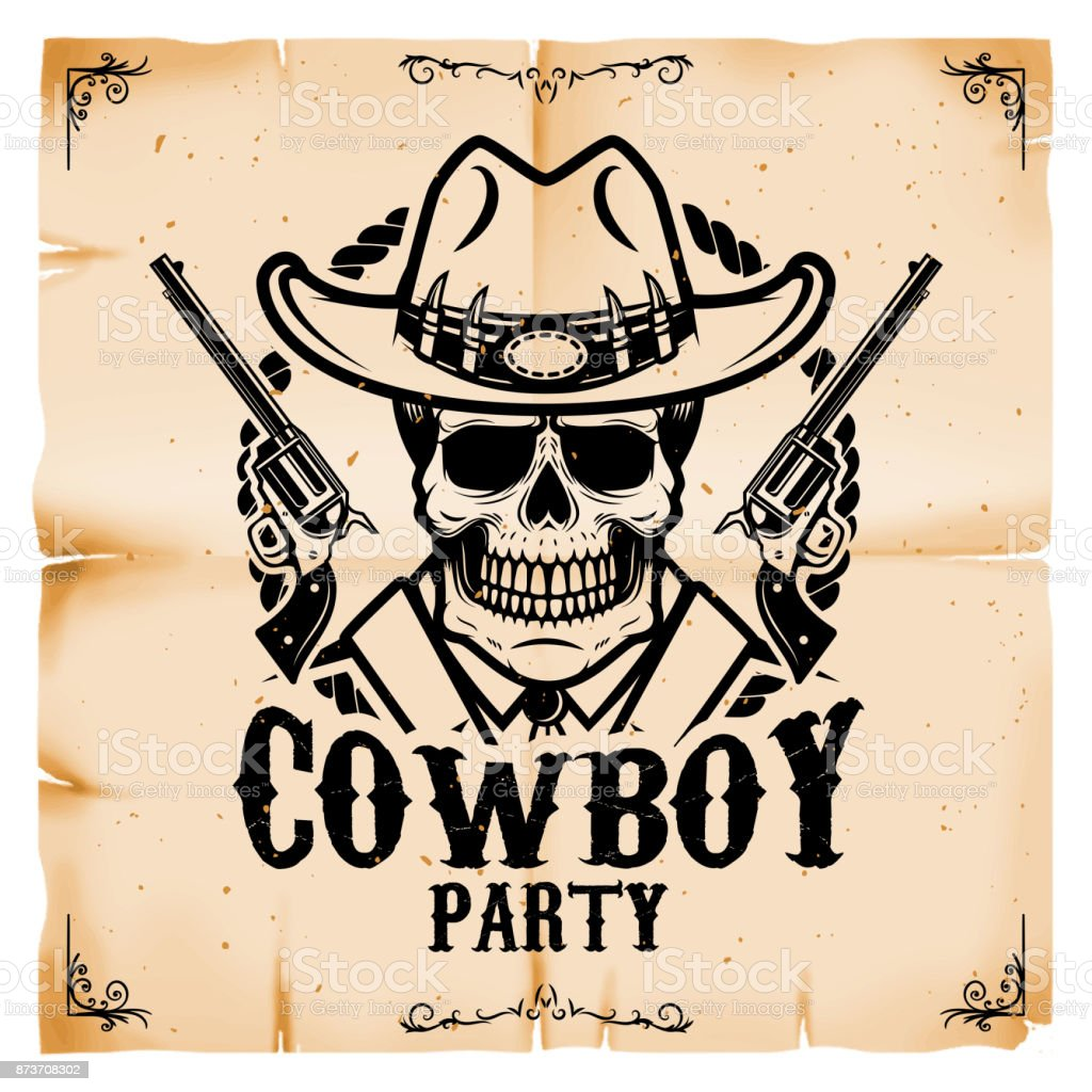 cowboy party poster template with old paper texture background wild
