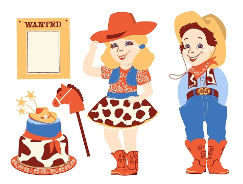 Cowboy party set. Cowgirl birthday Western elements set isolated on white