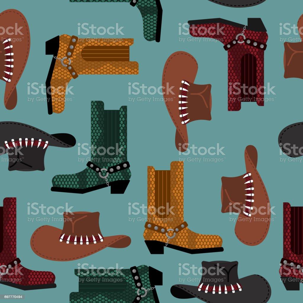 Patrón de vaquero. Botas de cuero sombrero y cocodrilo australiano. Fondo  de zapatos ropa 2f45e799edb