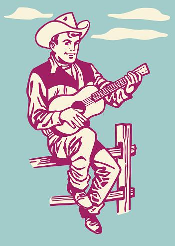Cowboy Playing the Guitar