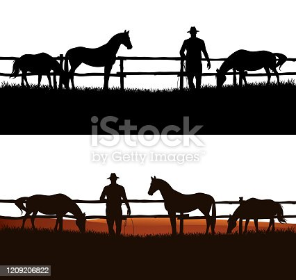 cowboy and horse herd behind wooden fence - grazing animals and rancher vector silhouette design