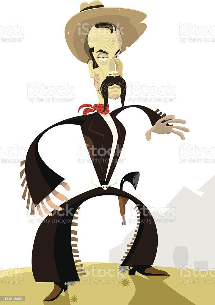 Cowboy Ready for a Gunfight vector art illustration