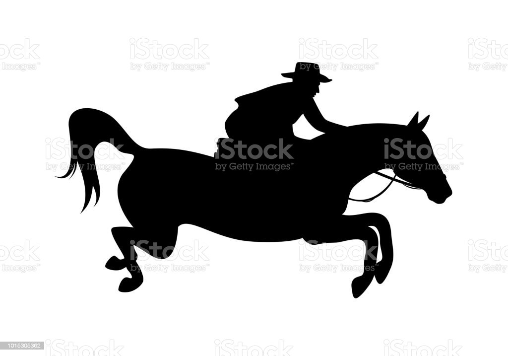 Cowboy Rider And Jumping Horse Vector Silhouette Stock Illustration Download Image Now Istock