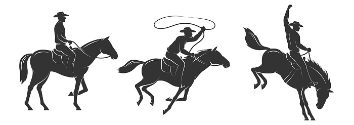Cowboy rides a horse and throws a lasso