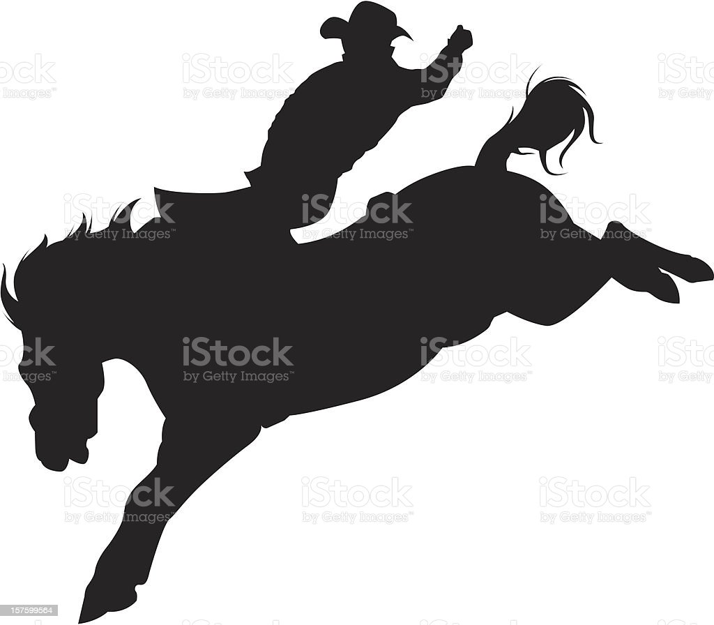 Cowboy Riding A Bucking Bronco Silhouette Stock Illustration Download Image Now Istock