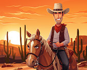 Vector illustration of a cowboy riding a horse in front of the setting sun in the desert. In the background are cactuses, hills and mountains and a fiery orange sky.