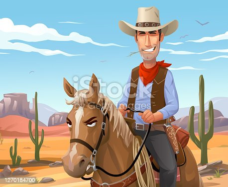 Vector illustration of a smiling cowboy riding a brown quarter horse in front of a desert scene. In the background are cactuses, hills and mountains and a cloudy blue sky.