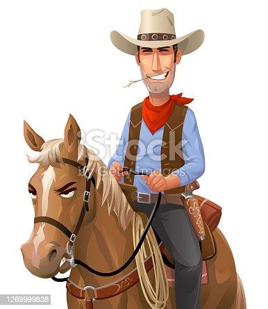 istock Cowboy Riding A Horse 1269999838