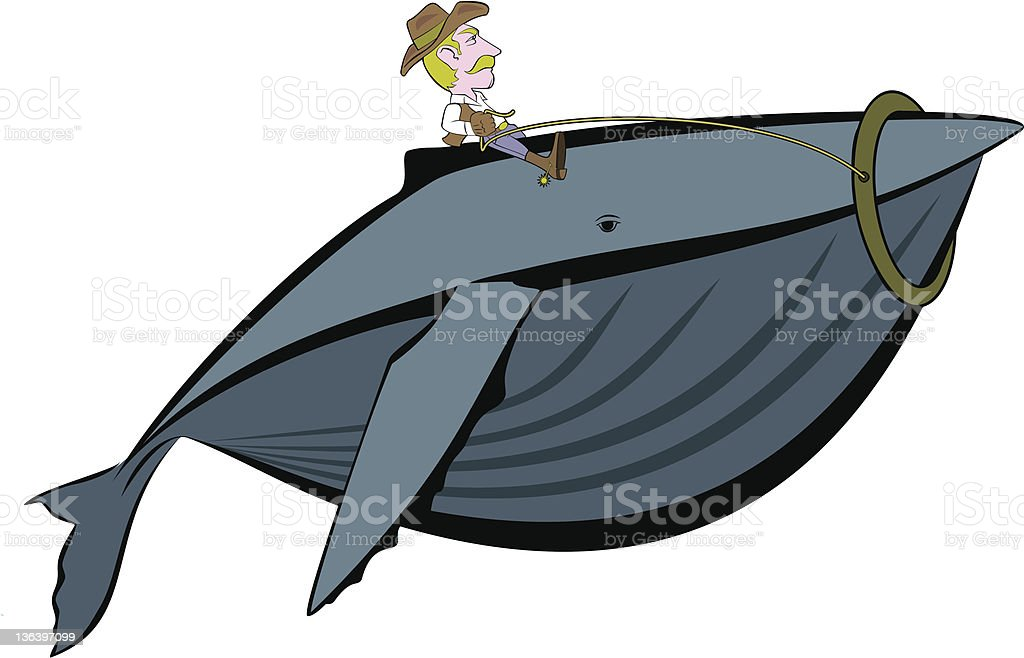 Cowboy Riding a Whale royalty-free stock vector art