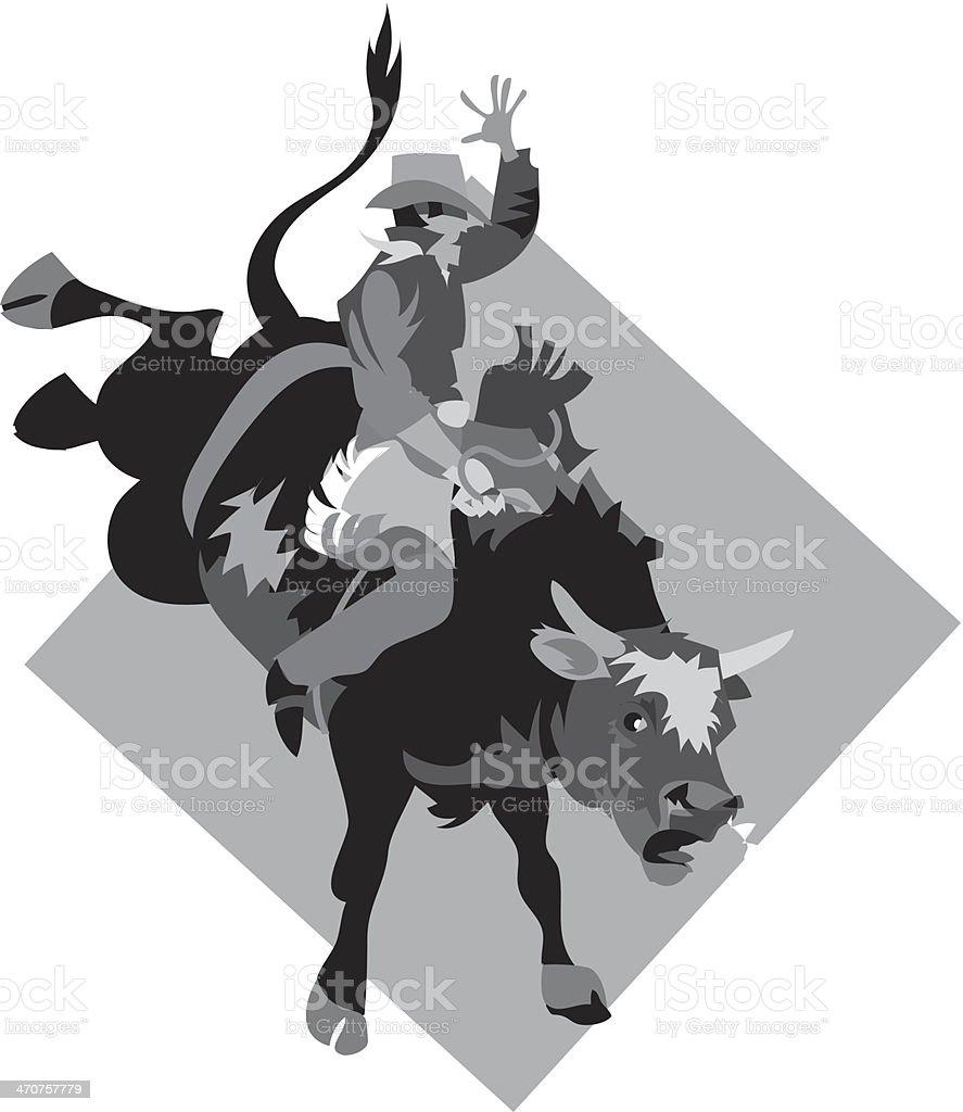 Cowboy Riding Bull royalty-free stock vector art