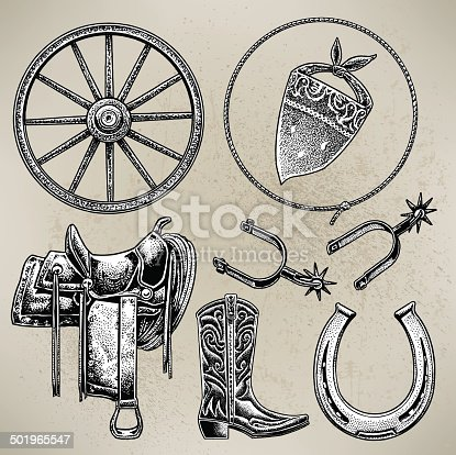 Pen and ink illustrations of Western Cowboy riding gear - boots, lasso, saddle, spurs, hat. Check out my