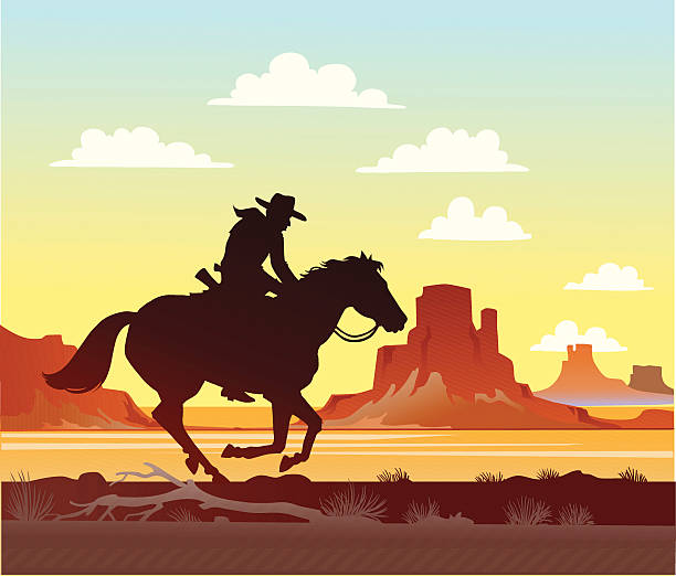 bildbanksillustrationer, clip art samt tecknat material och ikoner med cowboy riding his horse - single pampas grass