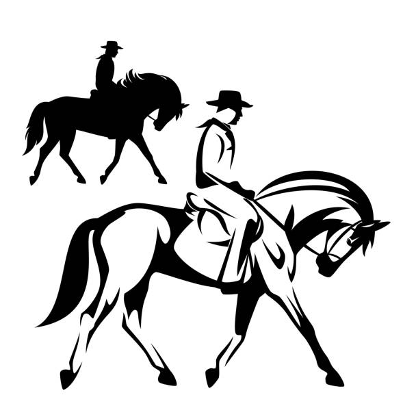 cowboy riding horse black and white vector outline and silhouette cowboy riding a horse - wild west ranger black and white vector outline and silhouette design set rancher illustrations stock illustrations