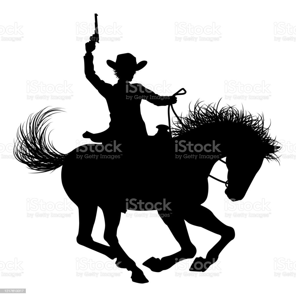 Cowboy Riding Horse Silhouette Stock Illustration Download Image Now Istock
