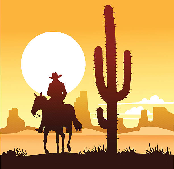 bildbanksillustrationer, clip art samt tecknat material och ikoner med cowboy riding through desert with cactus and sunset - single pampas grass