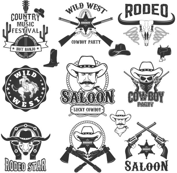 cowboy rodeo, wild west labels. country music party. - rodeo stock illustrations, clip art, cartoons, & icons
