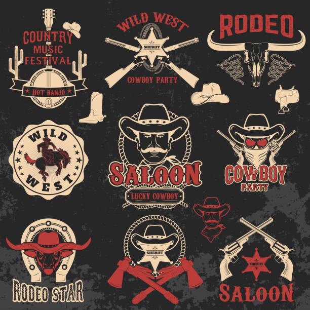 Cowboy rodeo, wild west labels. vector art illustration
