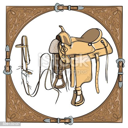 Cowboy Saddle And Bridle In The Western Leather Frame Stock Vector ...