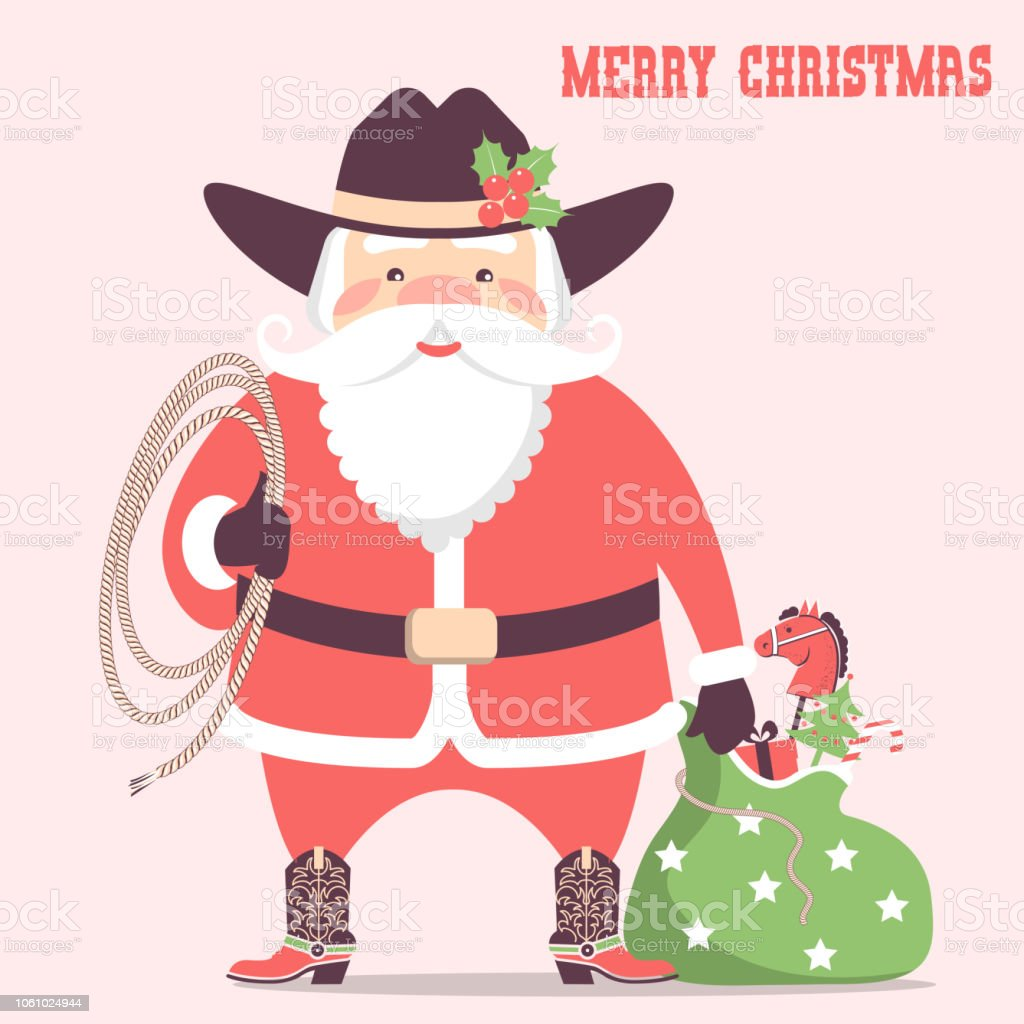 Cowboy Santa Claus With Western Hat And Holiday Gifts Vector ...