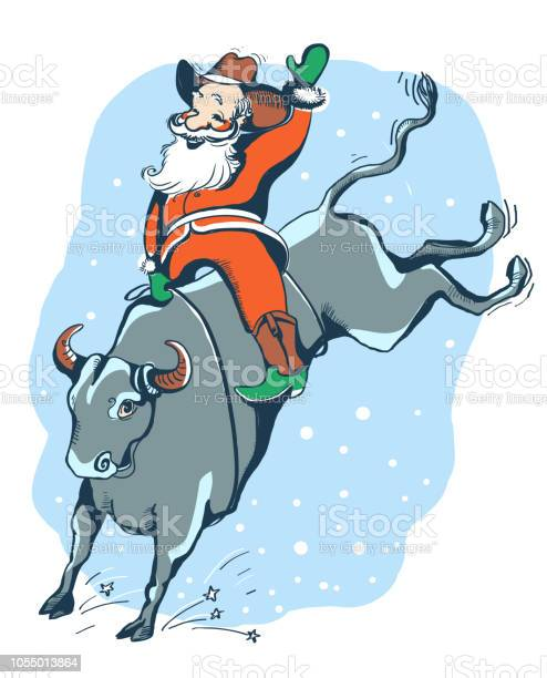 Cowboy santa on the rodeowestern rodeo bull riding color illustration vector id1055013864?b=1&k=6&m=1055013864&s=612x612&h=n 1ezn oxo6wu5zn4qkygslcie6mbn ds2g09oksrt0=