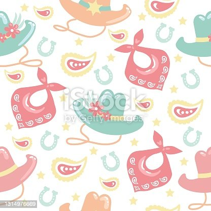 istock Cowboy Seamless pattern with western cowgirl elements. Wild West cowboy hats and horseshoes. Vector women tender style color background. 1314976669
