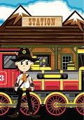 Cowboy Sheriff at Train Station