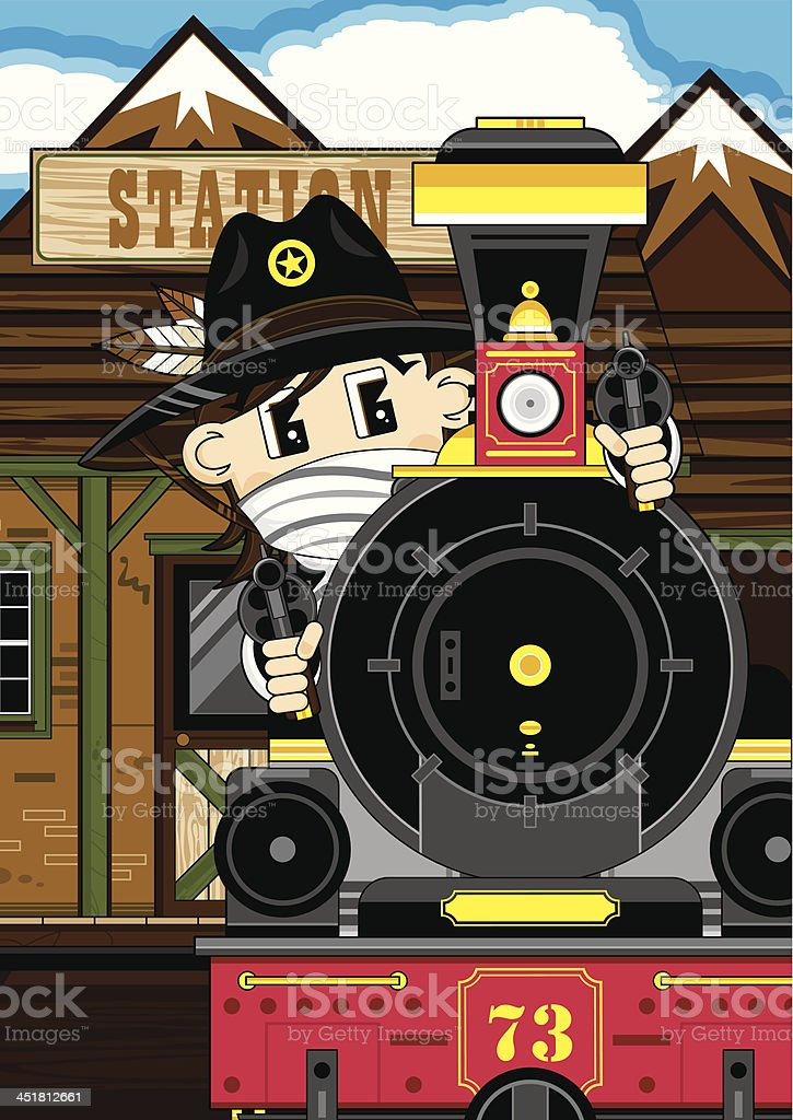 Cowboy Sheriff at Train Station royalty-free stock vector art